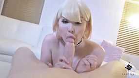 whore Sarina deepthroat cums in mouth